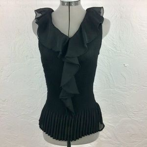 NWT sleeveless accordion pleat v neck blouse-S